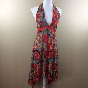 Forever 21 Asymmetrical Halter Dress Red Paisley